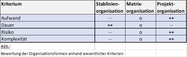 Bewertung der Organisationsformen